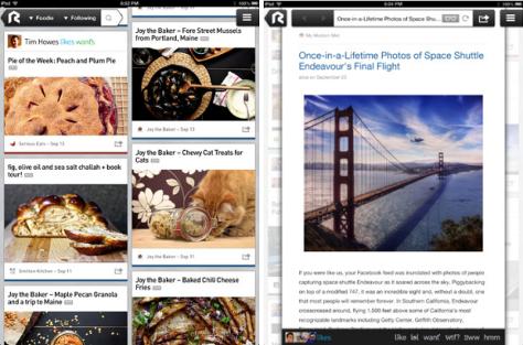 Rockmelt in iPad (screenshot)