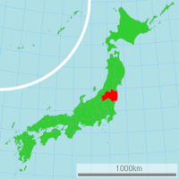 Map of Japan with highlighted Fukushima prefecture