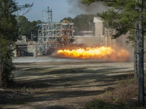 A gas generator from an F-1 engine is test fired at the Marshall Space Flight Center (Credit: NASA/MSFC/Emmett Given)