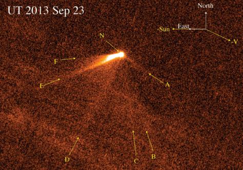 Main-belt comet P/2013 P5 with six tails (Image credit: David Jewitt et al./arXiv)