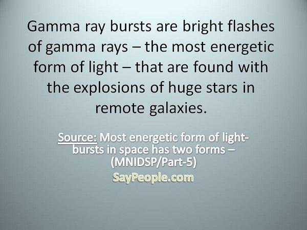 Gamma ray bursts - SayPeople