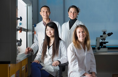 Brumme lab: clockwise from top right (Zabrina Brumme, Laura Cotton, Xiaomei Kuang, Anh Le)                                                      (Credit: Greg Ehlers/SFU creative services)