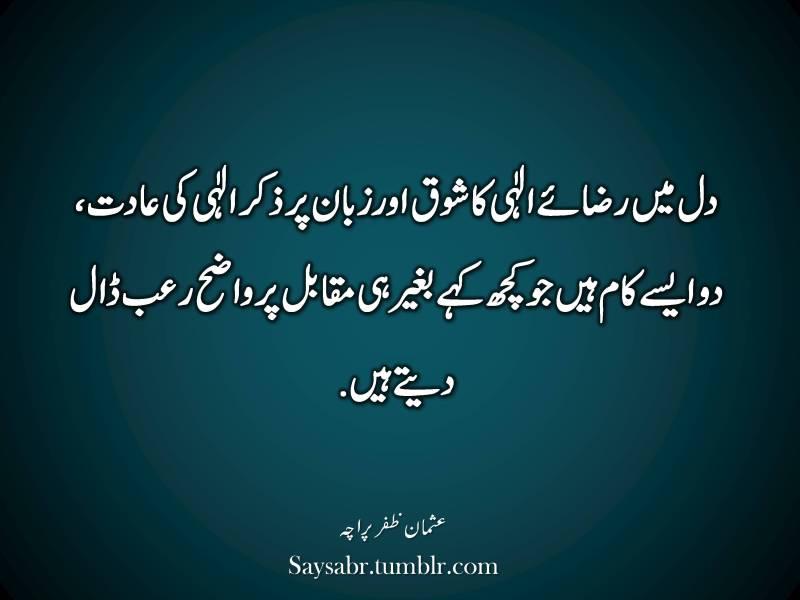 "Dil mein raza-e-ILAHI ka shoq aur zubaan par zikr-e-ILAHI ki aadat, do aisay kaam hain jo kuch kahay baghair hi muqabil par wazeh ro'b dal detay hain.  NB. Get eBook of Usman Zafar Paracha's quotations – ""میرے خیالات"" - http://amzn.to/29gFPKD Join Usman Zafar Paracha on Facebook - https://www.facebook.com/usmanzparacha"