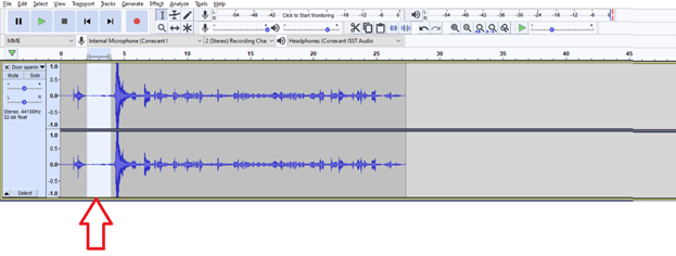 Figure 3: Selected area in audacity in the audio where there is no useful voice