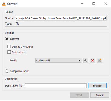Figure 1: Converting a video file into audio file