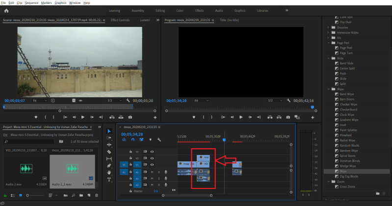 Two video clips placed together in Adobe Premiere Pro CC