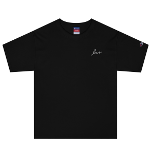Black Embroidered Champion T-shirt (Love)