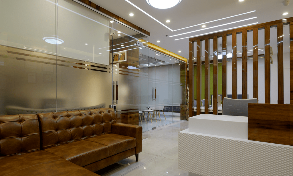 Office Sitting Area Interior Design by Sayyam Interiors