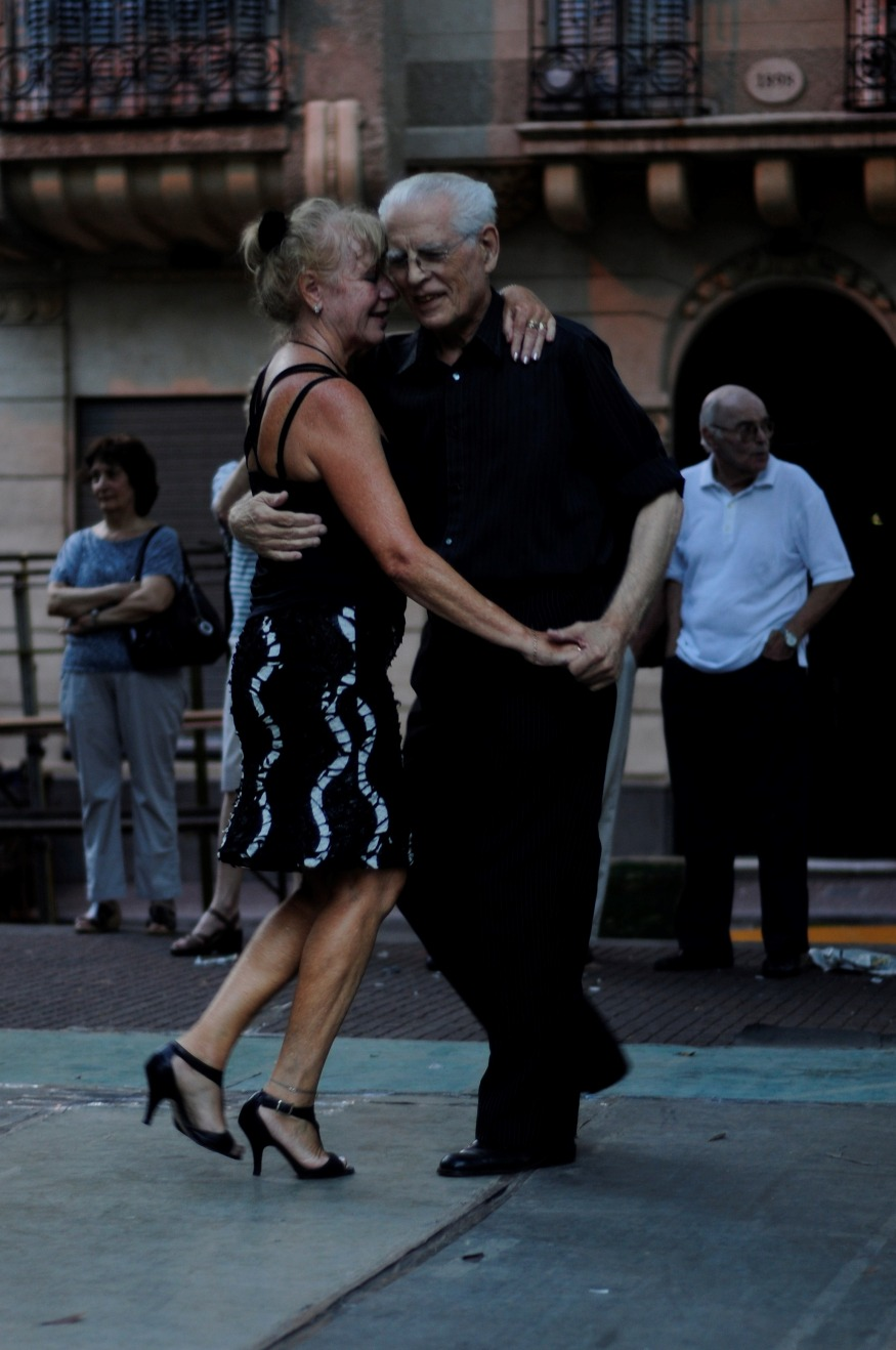 Elderly couple dancing tango