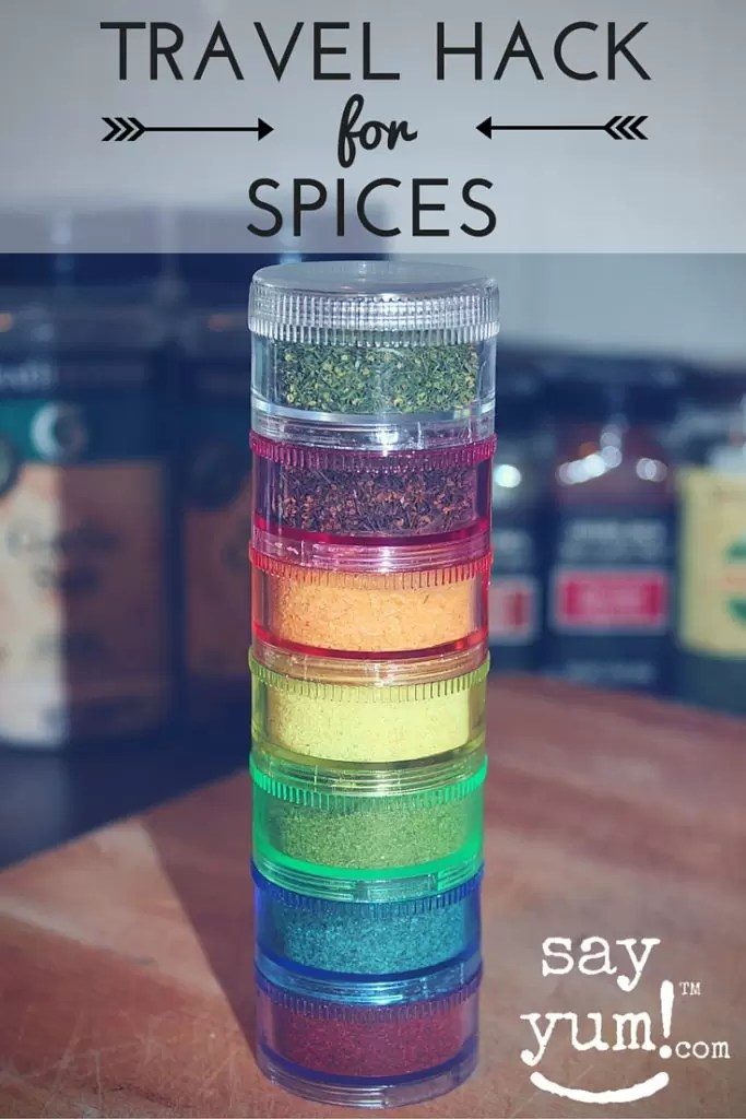 save luggage space  money  travel spice rack  say yum