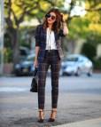 Plaid Business Pants Women Outfits