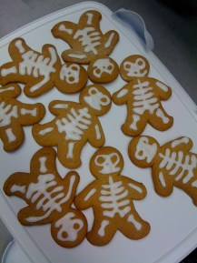 Spooky gingerbread men for Halloween at work. Cutter available from Lakeland.