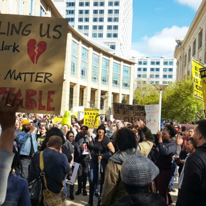 Hundreds converged on Sacramento's city hall last Thursday in protest of the police-involved shooting of Stephon Clark, 22, who was killed in South Sacramento Sunday by two officers who mistook a cell phone he was holding for a gun. Protesters, led by activists with Black Lives Matter Sacramento, left city hall and proceeded to move onto Northbound I-5, shutting down the busy highway just before the evening commute. (Antonio R. Harvey/The Sacramento Observer)