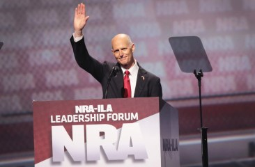 Florida Governor Rick Scott speaks at the NRA's 2017 annual meeting in Atlanta. (Scott Olson/Getty)