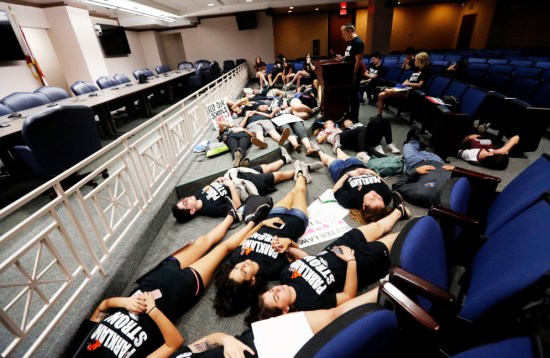 Student survivors mark the one-week anniversary of the Stoneman Douglas school shooting with a protest at the Florida state capitol in Tallahassee. (Gerald Herbert/AP)