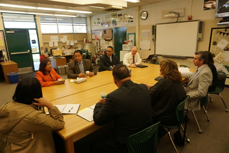 U.S. Representative Norma J. Torres joins with James Hammond, Superintendent of the Ontario-Montclair School District, and his board of administrators.
