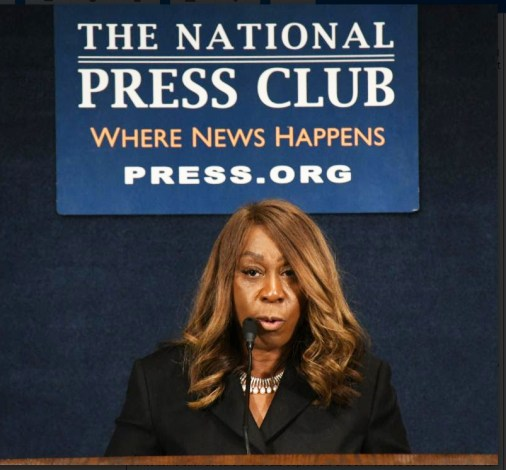 Lois Johnson speaks on homeownership during the recent Stateswomen for Justice Luncheon at the National Press Club. PHOTO: Roy Lewis