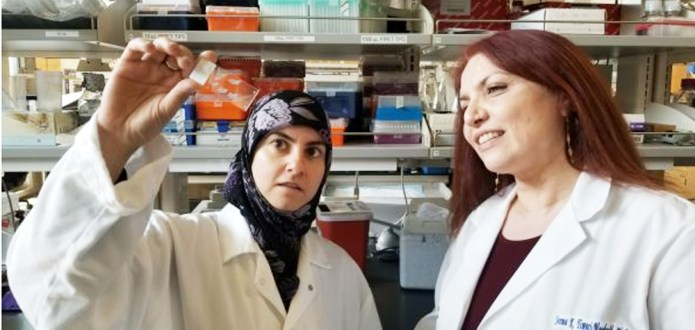Photo shows Hawra Karim (left) and Seema Tiwari-Woodruff. PHOTO CREDIT: I. PITTALWALA. UC RIVERSIDE.