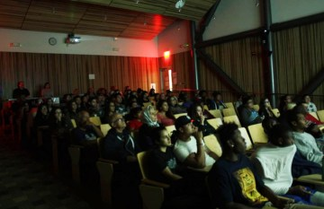 SBVC staff, students and community members participate in a film screening on campus in October 2015.
