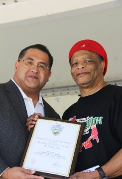 County Supervisor, James Ramos awarded the County Board of Supervisors 'Certificate of Recognition' to the Second Baptist Church of Redlands. Pastor, Anthony Green received the 'Award' on behalf of the church. Credit: John Coleman909 894-3070 Community Photography X (C P Time/s)