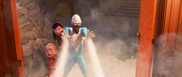 """Frozone aka Lucius Best (Samuel L. Jackson) with Dash (Huckleberry Milner) and Violet (Sarah Vowell) from """"Incredibles 2."""" Photo Credit: Pixar/Disney"""