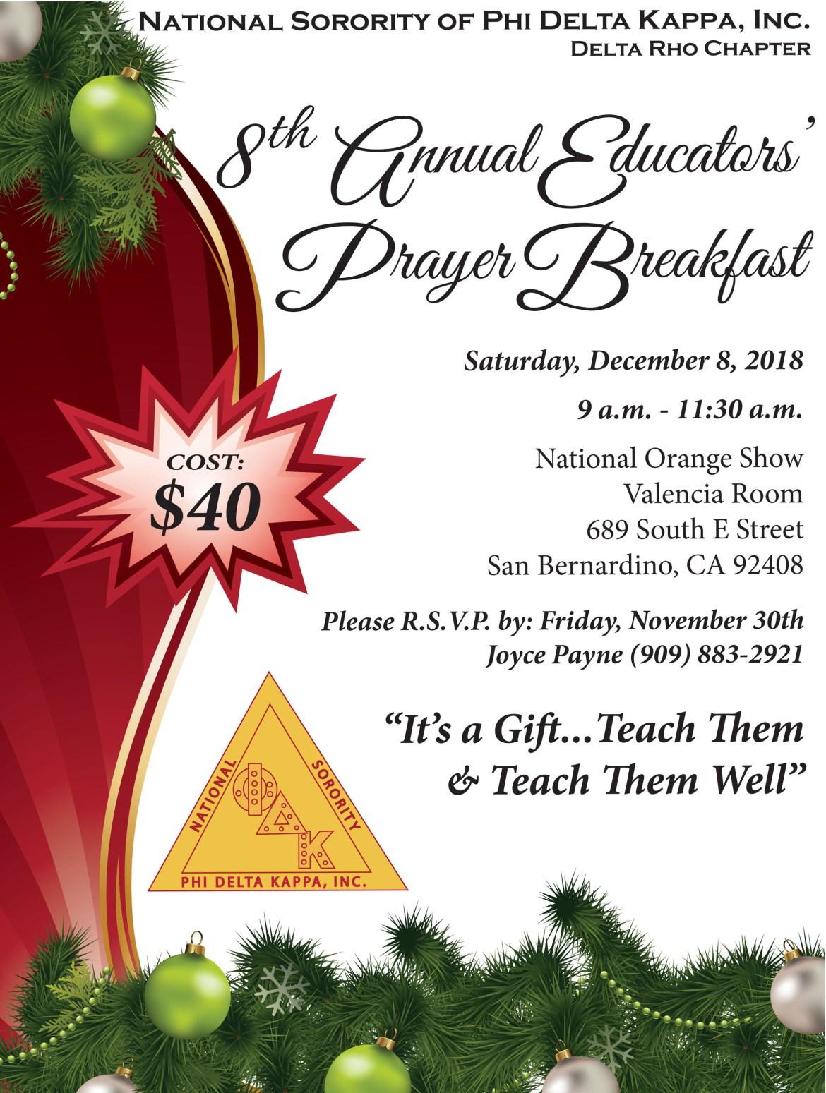 Annual Educators' Prayer Breakfast - 2018