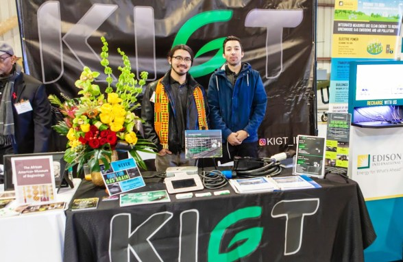 Left to right: KIGT co-founder and Chief Tech Officer Jatomis Stevenson, and KIGT colleague Brandon Aparicio, manned the KIGT (Keep It Green Transit) table at Southern California's Black History Month celebration at the Planes of Fame Air Museum in Chino. KIGT, based in Ontario, is the only black owned vehicle charging station manufacturer in North America to design and develop its own hardware and software.