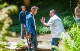 Michael Ealy, Dennis Quaid, Director Deon Taylor and Meagan Good on the set of Screen Gems' THE INTRUDER.