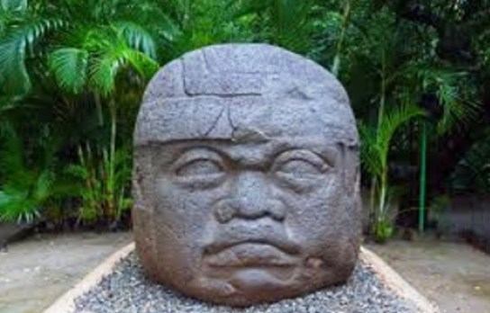 Archaeologists date this scuplture in Mexico to the Olmec Middle Formative period 900-400 B.C.