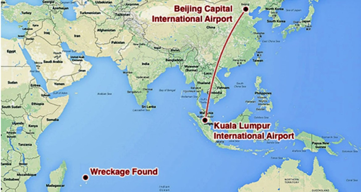 Map of Malaysian air flight route