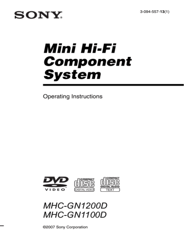 Sony MHC-GN1100D, MHC-GN1200D Operating instructions
