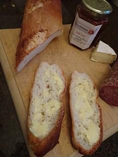 Buttered sliced baguette...