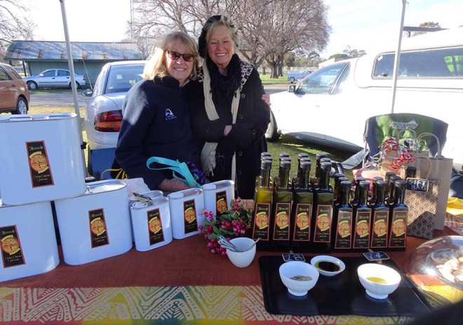 Maggie & Jan at the Alloway Olive stall