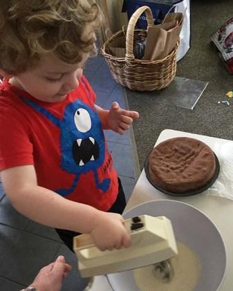 Whipping the Cream for Nana's Chocolate Cream Cake-r