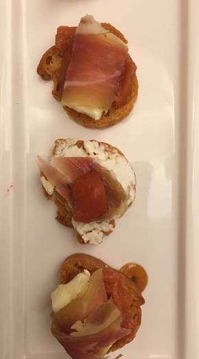 Goat's Cheese, Prosciutto and Pickled Quince Crostini - 2