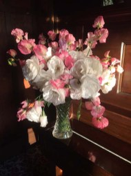 White Iceberg Roses with 'Princess Elizabeth' Sweet Peas