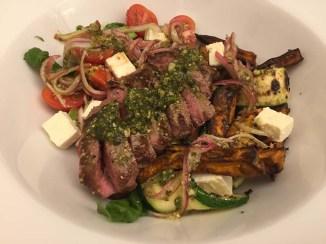 Eye Fillet Steak with Sweet Potato, Feta and Pesto Salad