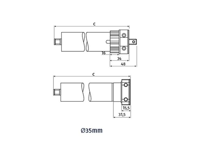 Motor tubular 35 mm para persianas y estores automáticos