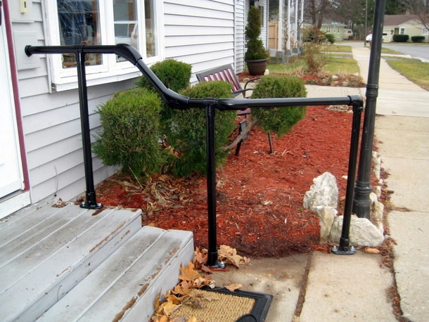 5 Diy Metal Stair Railing Examples Simplified Building | Diy Handrails For Outdoor Stairs | Wood | Front Porch Railing Ideas | Porch | Stair Stringers | Pipe