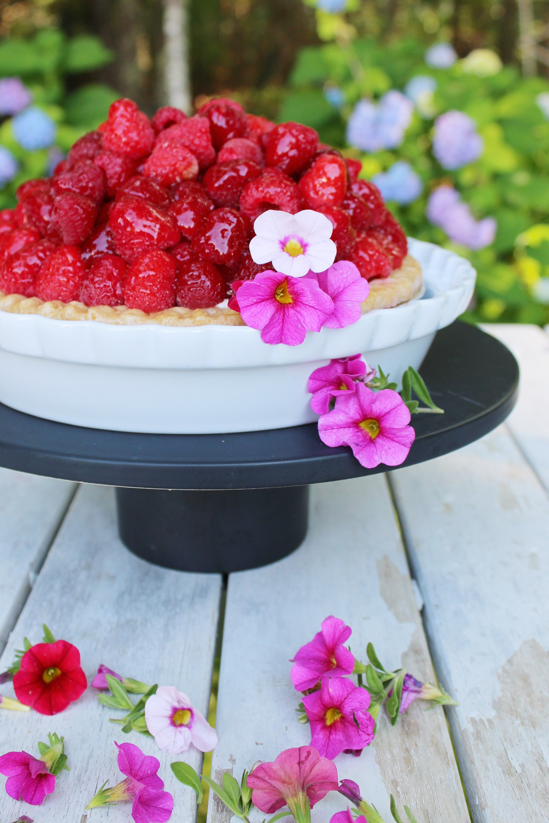 No bake Raspberry Sour Cream Pie