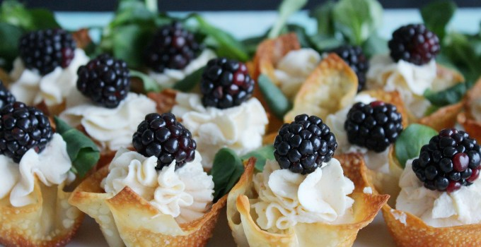 Spicy Yogourt & Ricotta Berry Wonton Cups with Black Honey