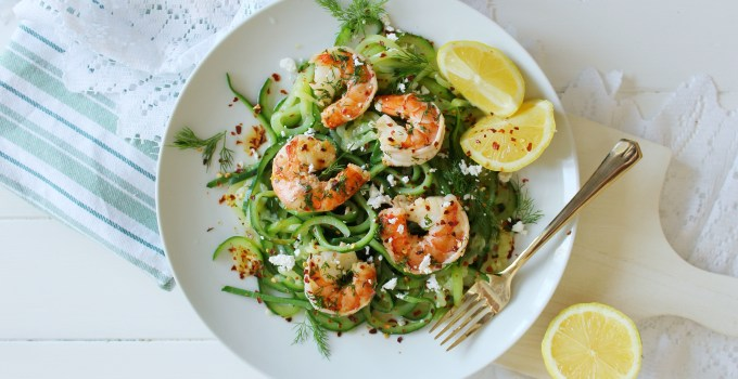 Black Tiger Shrimp Zoodles with Feta & Chili