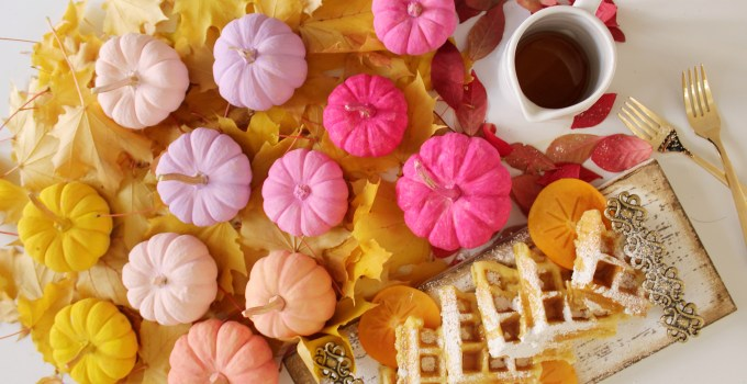 Pumpkin, Squash and Banana Waffles + DIY Painted Pumpkins