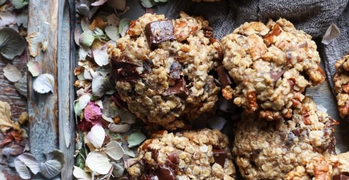 Tahini Oatmeal Chocolate Chunk Pecan Date Cookies