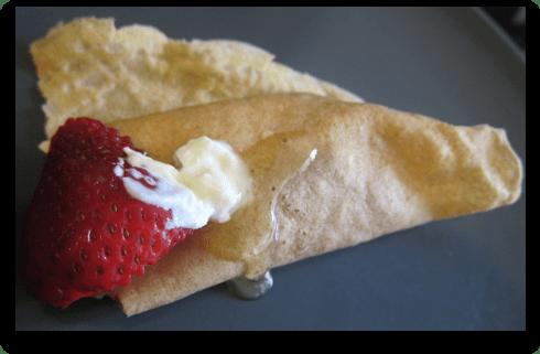 Whole Wheat Flour Crepe with Fresh Strawberry Filling, Honey, & Fage Yogurt
