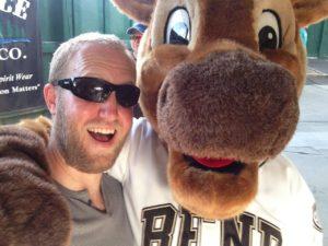 David White with mascot