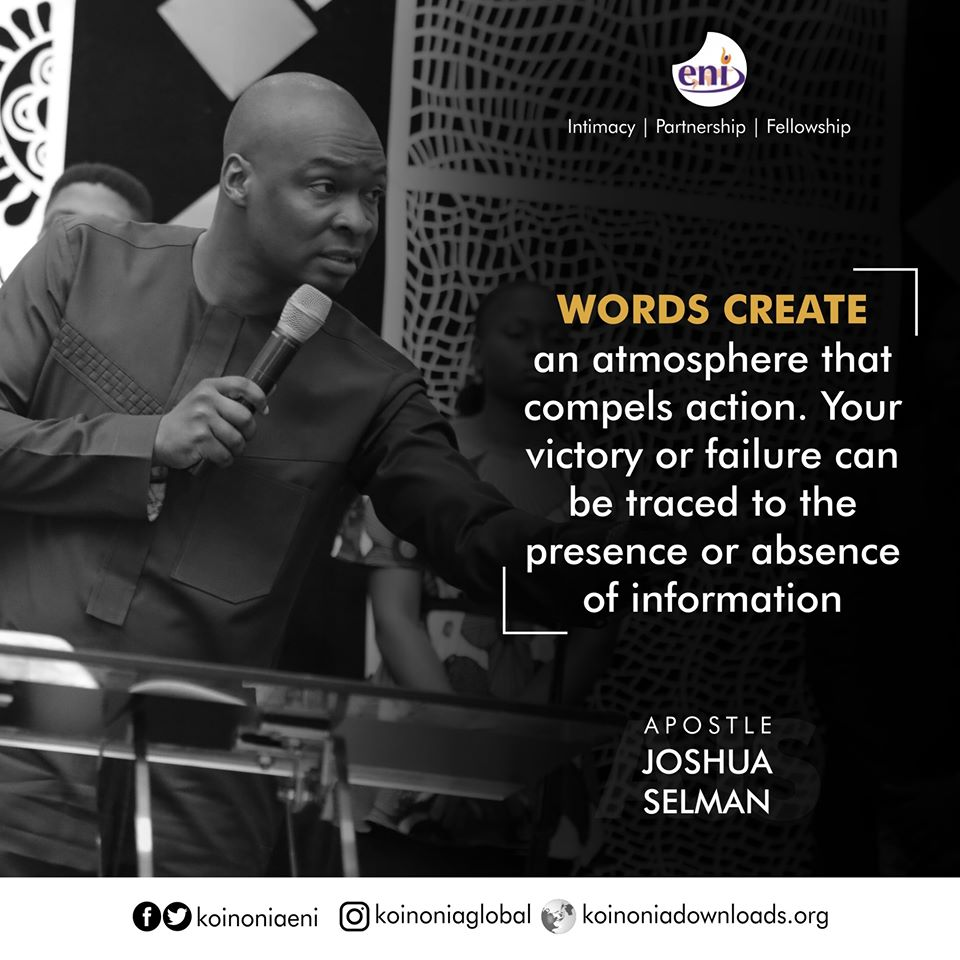 The Spirit and The Power of Words Koinonia with Apostle Joshua Selman Nimmak