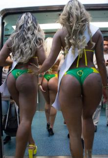 vBrazilian Miss Bum Bum Models Strip To Promote Competition On Subway image. Don't hurt yourself. let you please with a warning.