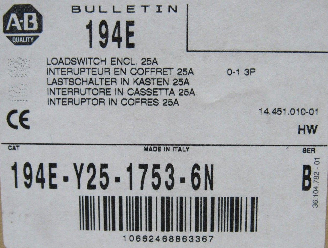 NEW ALLEN BRADLEY 194E-Y25-1753-6N LOAD SWITCH SER B