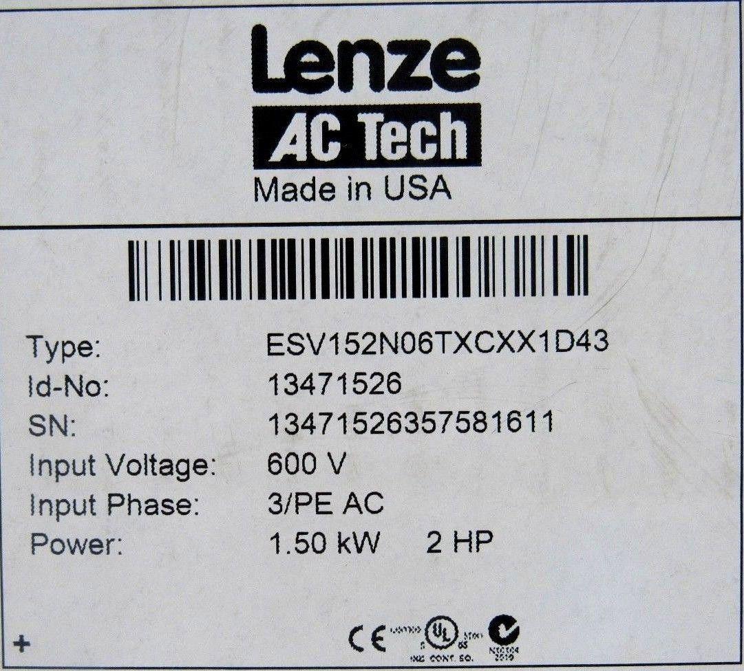 NEW LENZE ESV152N06TXCXX1D43 INVERTER DRIVE 13471526 600V